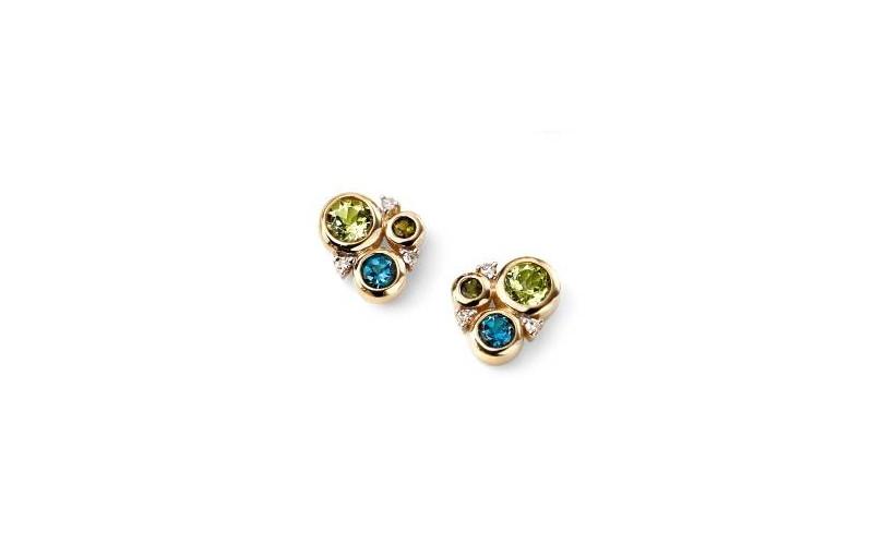 9ct Gold Diamonds, Periodt, Topaz and Green Tourmaline circles stud earrings. £285.00